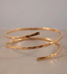Hammered Gold Double Snake Bracelet