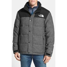 A water-resistant, channel-quilted tweed jacket with a slimmed-down fit features 550-fill down for unmatched warmth. Double-layer taffeta at the shoulders prevents abrasion from a pack, while an internal media pocket with a cord guide lets you jam to your tunes on your way down the mountain-or on your way to work. Color (s) : graphite grey melange. Brand: The North Face. Style Name: The North Face 'Nuptse Heights' Water Resistant Tweed Down Jacket. Style Number: 755742.