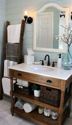 Rustic chic bathroom.