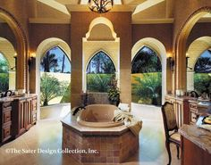 "The Sater Design Collection's luxury, Spanish home plan ""Marrakesh"" (Plan #6942). saterdesign.com"
