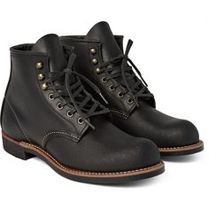 Red Wing Shoes Blacksmith Leather Boots ($300) ❤ liked on Polyvore featuring men's fashion, men's shoes, men's boots, black, mens lace up shoes, mens black leather boots, red wing mens shoes, mens black leather shoes and red wing men's boots