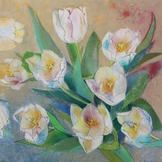 Mother's Day!  Loes Botman, Tulips, 2017, Pastels, 75x75 cm