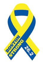 26.2 Boston Strong Ribbon Blue and Yellow Temporary Tattoo