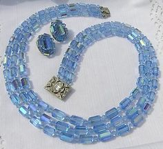 Demi Blue AB Crystal / Glass 3 Strand Necklace & Clip Earrings Multi-Strand tub /40