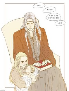 Oropher, Thranduil and little Legolas (by linyuno) in Elven Nick-Nacks
