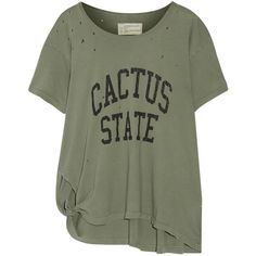 Current/Elliott - Roadie Knotted Distressed Printed Cotton-jersey... ($55) ❤ liked on Polyvore featuring tops, t-shirts, army green, western t shirts, cowboys t shirts, olive green t shirt, military green t shirt and cotton jersey
