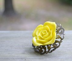 Yellow Rose Ring by cynicalredhead on Etsy