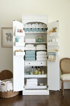 Our Paulette Pantry is a great freestanding storage cabinet, no matter where you use it. Here, we created a linen closet that can fit EVERYTHING! Towels, sheets, soaps, tissues, candles, linen spray, cleaners, and extra bath supplies. Plus it takes up very little floor space!