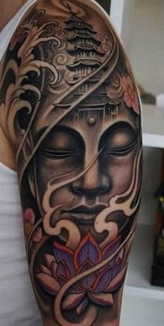 We love the way the pagoda is worked into this work of art. #Inked #inkedmag #tattoo #realism #lotus #buddha #culture #idea