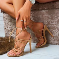 Make a statement on these gorgeous strappy toggle heels, featuring a cross over detail upper, toggle fastening and a inch stiletto heel. Nude Strappy Heels, Ankle Strap High Heels, Sexy Heels, High Heels Stilettos, Stiletto Heels, Casual Shoes, Hot, Aaliyah, Health Remedies