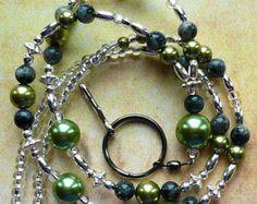 Pearls Beaded Lanyard Swarvoski Id Badge by zoeybeadedbeauties