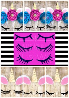 We can get stuff like this for the kids to add to their unicorn color paintingsWe love these unicorn lashes! Unicorn Eyes, Unicorn Lashes, Unicorn Birthday Parties, Unicorn Party, Unicorn Backgrounds, Baby Showers, Unicorn Crafts, Backdrop Decorations, Flower Template