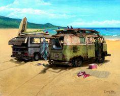 vintage painted vw's | Volkswagen VW Van Vanagon Art Print Poster