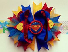Superman ott bow boutique hair bow for girls by RoshelysBowtique, $10.00