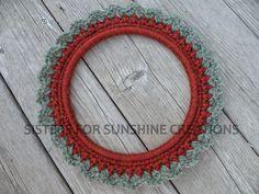 Orange Green Crochet Wreath, handmade by Sisters for Sunshine Creations