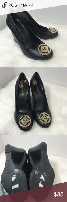 BCBG black wedges Soft leather upper with gold emblem on toes. Perfect condition. BCBGeneration Shoes Wedges