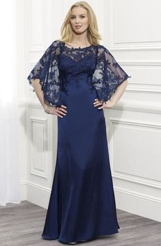 Shop affordable Sheath Scoop-Neck Maxi Appliqued Bat-Sleeve Satin Formal Dress With Cape at June Bridals! Over 8000 Chic wedding, bridesmaid, prom dresses & more are on hot sale. Satin Formal Dress, Chiffon Dress Long, Chiffon Evening Dresses, Ball Dresses, Ball Gowns, Formal Dresses, Dresses 2016, Cheap Dresses, Unconventional Wedding Dress