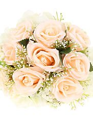 "Wedding+Flowers+Round+Roses+Bouquets+Wedding+Polyester+9.84""(Approx.25cm)+–+GBP+£+41.41"