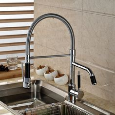 Chrome Finished Pull Out Kitchen Sink Faucet Rotation Mixer Taps Deck Mount Single Handle Best