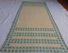 Vintage Embroidered Long Table Runner Aquamarine Blue Flowers Cross stitch  Tablecloth Table Topper Bordoures Floral 1960's by VintageHomeStories on Etsy