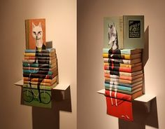 Drawings on books. Mike Stikey's whimsical paintings on old books