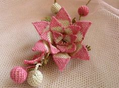 Pink and White Flower Necklace teBig Pink Rose by needlecrochet, $80.00