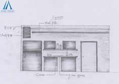 Kitchen Interior Wall Design Idea in Sketch Work by AAA