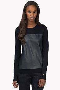 Fashionable jumper crafted from extra fine wool with a leather panel inset from chest to bottom hem. Ribbed crew neck, cuffs and bottom hem. Tommy Hilfiger tag on the sleeve.<br/><br/>Our model is 1.76m and is wearing a size S Tommy Hilfiger jumper.