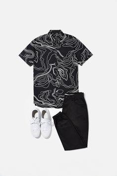 chemise plan noire et blanche/ black and white map shirt