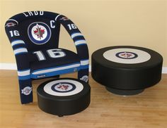 Andrew Ladd sports chair, table ottoman and footstool Ottoman Table, Hockey Teams, Jets, Furniture Decor, Nhl, Home Appliances, Sports, Chairs, Collection