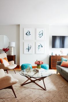 Take a look at Orange is the New Black star Adrienne Moore's living room transformation. Nicole Gibbons worked her design magic and the dramatic result reflects Adrienne's vibrant personality.
