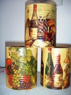 Conjunto Lata Ceia - Mantimentos Tin Can Crafts, Dyi Crafts, Metal Crafts, Decoupage Vintage, Decoupage Paper, Formula Can Crafts, Tin Can Art, Jar Art, Bottle Painting