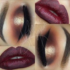 Winter / fall look. Burgundy lips, gold eyes.