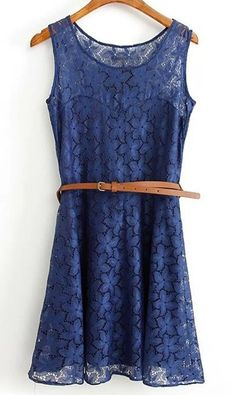 Elegant Sleeveless Scoop Neck Lace Dress For Women