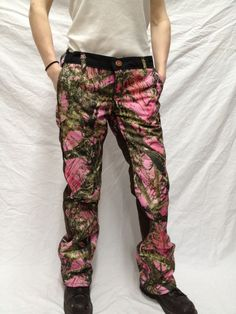 pink camo huntin pants.  i'd use them for camping and just being outdoors.