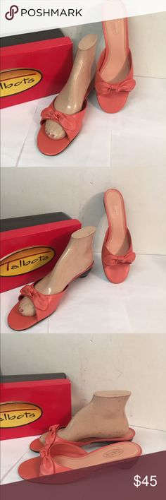 Talbots Reagan Rhododendron Slide Dressy Sandals Excellent clean condition.  New, never worn condition. Size 8 1/2M.  In original box. Pretty coral pink Talbots Shoes Sandals