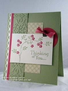 "Card Recipe: Stamps- Thoughts & Prayers; Paper- Pear Pizzazz, Rose Red, Very Vanilla, Springtime Vintage designer paper; Ink- Pear Pizzazz, Rose Red; Accessories- Rose Red seam binding ribbon, mini library clips, scallop trim border punch, 1 3/4"" circle punch, Vintage Wallpaper embossing folder, basic pearls, dimensionals"