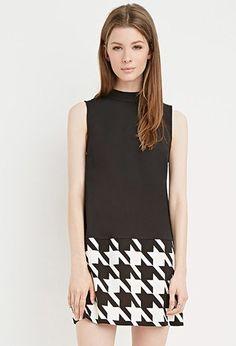 Colorblocked Houndstooth Shift Dress | Forever 21 - 2000158338