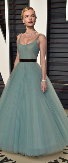 Kate Bosworth in J. Mendel green tulle gown. Gorgeous!