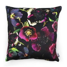 The Garden at Night collection is inspired by the nocturnal world of plants and captures their dramatic hidden beauty. This design combines ink drawings with photo collage on a dark background to create an unusual combination of real and illustrative colourful motifs.This cushion features a silhouette white and grey botanical design on the back, allowing you to flip the cushion for a more subtle neutral print.This product is handmade in the UK.Made to order, 1-2 week lead time if not in…