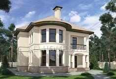 Готовый проект компактного дома с красивым полукруглым эркером