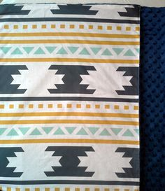 Gender Neutral blanket Baby Blanket Modern Navajo by LullabyAngels Crochet Blanket Patterns, Baby Blanket Crochet, Girl Nursery Bedding, Baby Bedding, Arrow Nursery, Tribal Nursery, Baby Diy Projects, Mint, Stroller Blanket