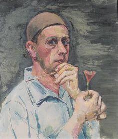 Felix Esterl: Selbstbildniss mit Nelke, 1928,   Museum Moderner Kunst Kärnten