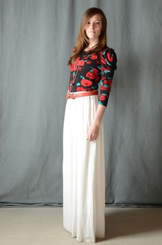 "dark blod floral shirt with a long skirt so pretty and feminine-I wouldn't mind wearing this even on bad ""Mommy days"""
