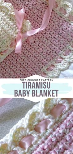 Tiramisu Baby Blanket Free Crochet Pattern Although this is one of the simplest blankets, the ribbon weaved through the edging gives it a touch of luxury. Make it and gift to someone close to you or keep for yourself. Crochet Blanket Border, Baby Girl Crochet Blanket, Crochet Blanket Patterns, Baby Patterns, Crochet Baby, Crochet Blankets, Stitch Patterns, Knitting Patterns, Knit Or Crochet