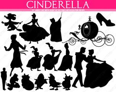 Cinderella Silhouettes: mouse, fairy, carriage, shoe, prince, sisters, mother-in-law, dog, cat, mouse, birds. 16 images in total - pinned by pin4etsy.com