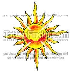Blazing Sun tattoo design by Joe Butt