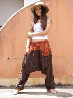 Color Two Tone Stone Washed Yoga Pants, Harem Pants, Trousers, Aladdin Pants, Green Cotton, Comfy, Stone, Sewing, Model