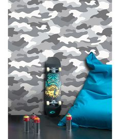 This cool Camouflage Wallpaper comes in tones of grey and white and is ideal for creating an Army theme or for a teenagers bedroom. Camouflage Room, Army Camouflage, Teen Room Decor, Diy Bedroom Decor, Bedroom Ideas, Boys Bedroom Wallpaper, Army Bedroom, Army Decor, Interiors