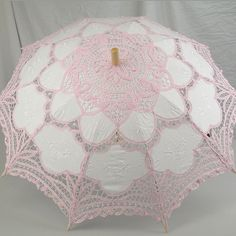Image detail for -. 00001930 Ladies White And Pink Lacy Handmade Regency Victorian Parasol Lace Umbrella, Lace Parasol, Under My Umbrella, Rose Pastel, Pretty Pastel, Pink Love, Pink White, Costume Hire, Umbrellas Parasols
